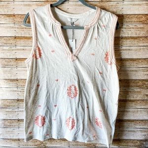 Lucky Brand Boho Beige Embroidered Tank